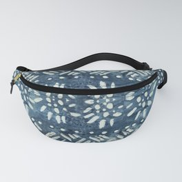 Vintage indigo inspired  flowers and lines Fanny Pack