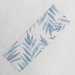 Muted Blue Palm Leaves Yoga Mat