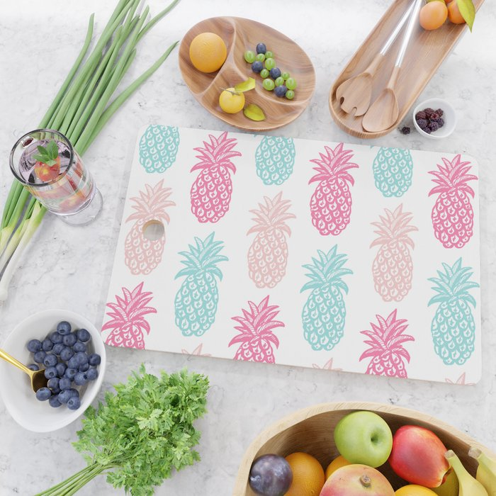 Pineapple Summer (pink and blue) Cutting Board