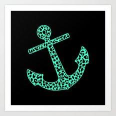 Mint Leopard Anchor Art Print