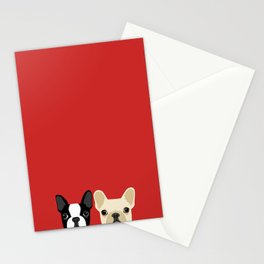 Boston Terrier & Cream French Bulldog RED Stationery Cards