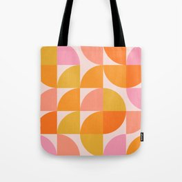 Mid Century Mod Geometry in Pink and Orange Tote Bag