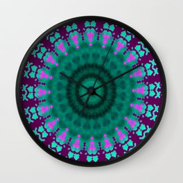 Lovely Healing Mandala  in Brilliant Colors: purple, pink, teal, and green. Wall Clock