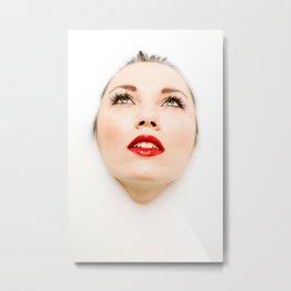 Face In Milk Metal Print