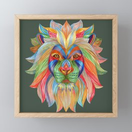 Rainbow Lion Framed Mini Art Print