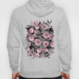 Nostalgic Floral Pattern On Black Hoody