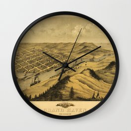 Bird's Eye View of Grand Haven, Michigan (1868) Wall Clock