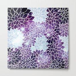Space Dahlias Purple Ice Metal Print