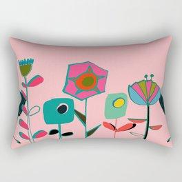 Mid century flowers pink Rectangular Pillow