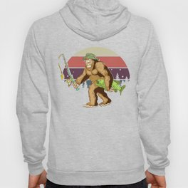 Vintage Bigfoot Fishing Retro Fishermen Gift Hoody
