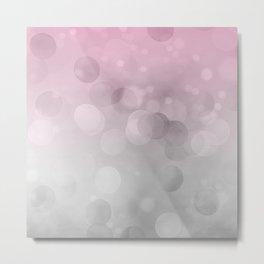 Pink  Grey Soft Gradient Bokeh Lights Metal Print
