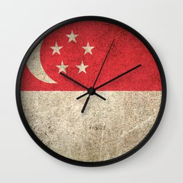 Old and Worn Distressed Vintage Flag of Singapore Wall Clock