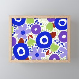 Bold Abstract Floral Inspired Pattern (Maroon, Blue, Purple, Pea Green) Framed Mini Art Print
