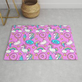 Kawaii Sweet Pink Glittery unicorn pattern Rug