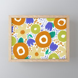 Bold Abstract Floral Inspired Pattern (Harvest Colors) Framed Mini Art Print