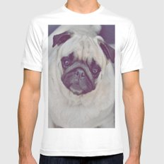 Pug Dog MEDIUM Mens Fitted Tee White