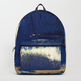 Halo [2]: a minimal, abstract mixed-media piece in blue and gold by Alyssa Hamilton Art Backpack
