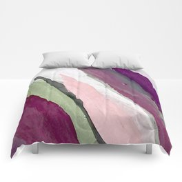 Blossom [2]: a pretty acrylic piece in greens, pinks, white, and purple. Simple minimal elegant Comforters