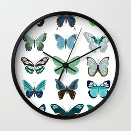 Green and Blue Butterflies Wall Clock