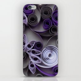 Purple Grey Love Heart Paper Quilled Colorful Heart Wedding Anniversary Gift iPhone Skin
