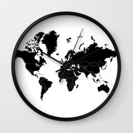 Minimalist World Map Black on White Background Wall Clock