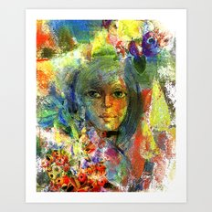 Girl with fruits. Art Print