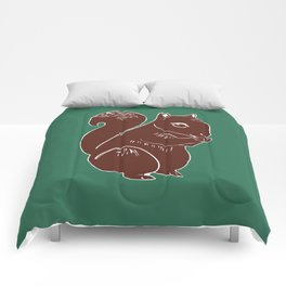 Brown Squirrel with Forest Green Comforters