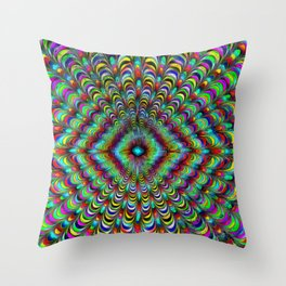Frilly Paintbox Fractal Throw Pillow