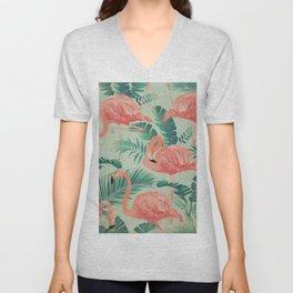 Flamingo Pattern on Mint Green - Kitschy Playful Tropical Palm Leaves Unisex V-Neck