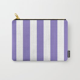 Ube violet - solid color - white vertical lines pattern Carry-All Pouch