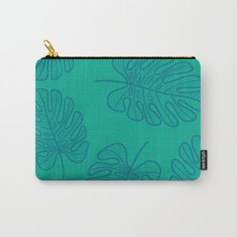 UrbanNesian Teal Monstera Leaf Carry-All Pouch