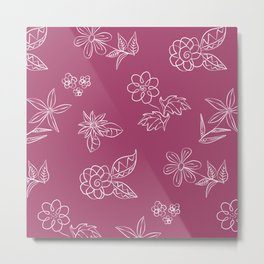 Floral Doodles (White Flowers on Plum) Metal Print