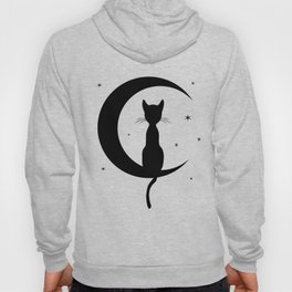 Cat on a Moon Silhouette (Lights) Hoody