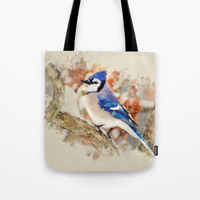 Watercolor Blue Jay Art Tote Bag