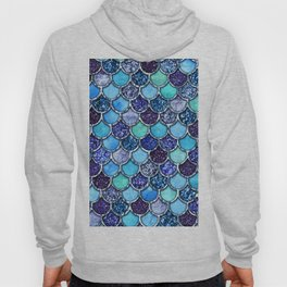 Colorful Teal & Blue Watercolor & Glitter Mermaid Scales Hoody