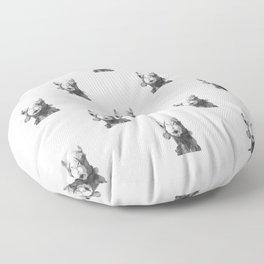 Black and White Camel Portrait Floor Pillow