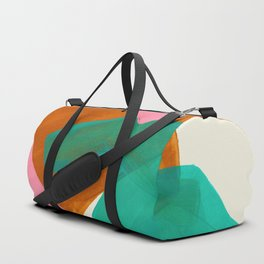 Ochre Pink Marine Green Fun Colorful Mid Century Modern Abstract Painting Shapes Pattern Duffle Bag