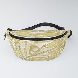Golden Tropical Leaves Abstract Fanny Pack