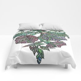 Art Nouveau Morning Glory Isolated Comforters