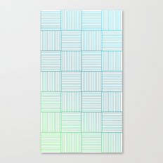 Woven Squares in Blue and Green Canvas Print