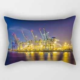 Port of Hamburg at night with colorful illumination Rectangular Pillow