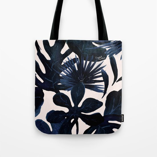 Tropical Leaves - Midnight Tote Bag