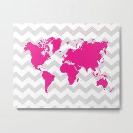 World Map - Pink and Grey Chevron Metal Print