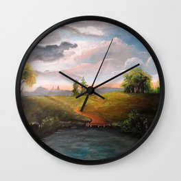 Pond and road Wall Clock