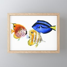 Coral Fish, tropical fish artwork, coral sea world Framed Mini Art Print