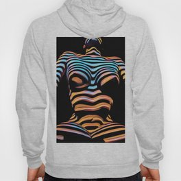 1205s-MAK Shadow Striped Female Torso Rendered Composition Style Hoody