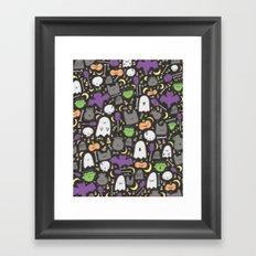 Kawaii Halloween - Black Framed Art Print