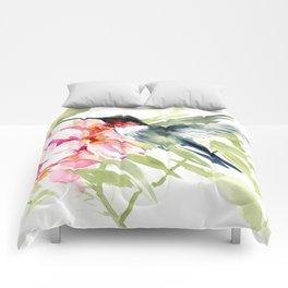 Hummingbird and Plumeria Flowers Comforters