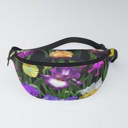 Iris Garden - on black Fanny Pack