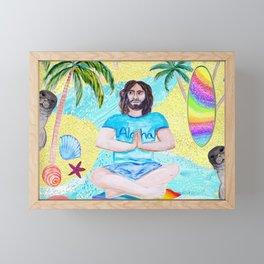 Yoga Aloha Hawaiian Tropical mermaid , flamingos, yoga floats floral Framed Mini Art Print